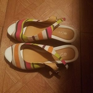 Wedge Striped Sandals